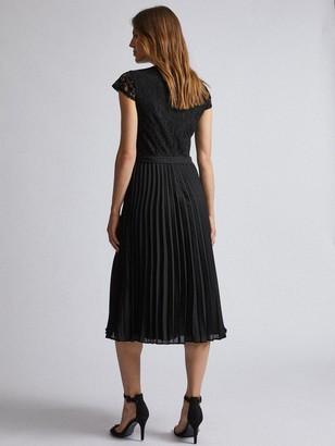 Dorothy Perkins Lace Pleated Midi Dress - Black