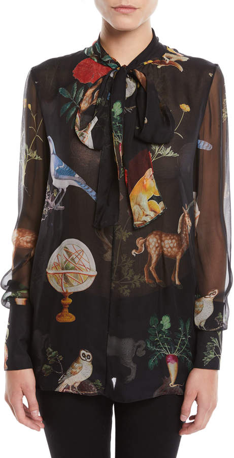 Oscar de la Renta Tie-Neck Long-Sleeve Animal-Print Silk Chiffon Blouse