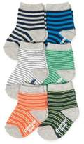 Osh Kosh 6-Pack Striped Crew Socks in Orange/Blue/Green