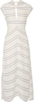 Proenza Schouler Tie-back Cutout Striped Crepe Midi Dress - Ivory
