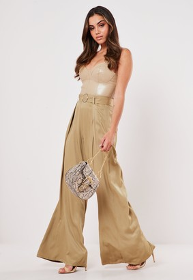 Missguided Petite Stone Pleat Wide Leg Belted Trousers