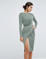 Asos Slinky Midi Wrap Trim With Long Sleeve