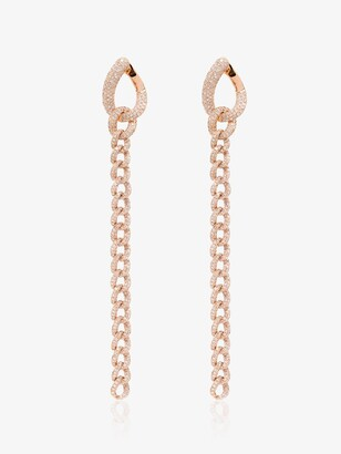 Shay 18kt Rose Gold Long-Chain Pave Drop Earrings