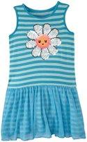 Design History Daisy Sequins Trim Dress (Toddler/Kid) - Sky Blue-6