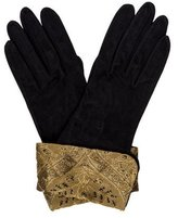 Chanel Suede Brocarde-Trimmed Gloves