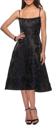 La Femme Floral Jacquard Cocktail Dress