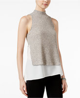 Bar III Layered-Look Mock-Neck Top, Only at Macy's