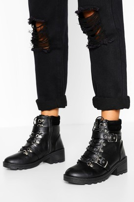 boohoo Buckle Detail Lace Up Hiker Boot
