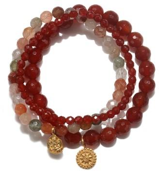 Satya Jewelry Women's Carnelian & Rutilated Quartz Gold Ganesha Mandala Stretch Bracelet Set