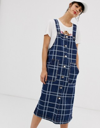 Monki checked denim pinafore dress in blue-Multi