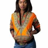 Franterd Women Fashion Dashiki Long Sleeve African Print Short Casual Jacket (S, )