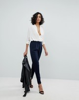Y.A.S tailored pants with elasticated waist in navy