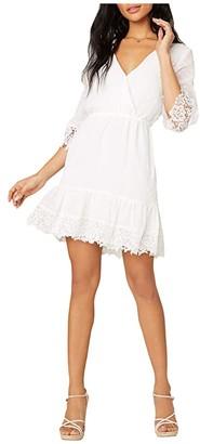 BB Dakota Chiffon On The Spot Swiss Dot Textured Chiffon Dress (Ivory) Women's Clothing