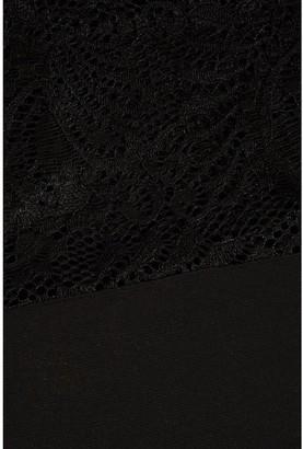 Quiz Curve Lace Yoke Boxy Top - Black