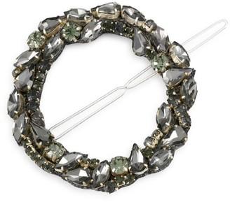 Deepa Gurnani Dar Mixed Multicolor Crystal & Gunmetal-Tone Circular Barrette