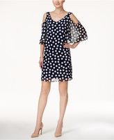 Connected Polka-Dot Cold-Shoulder Shift Dress