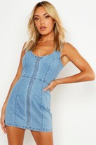 boohoo Mabel Zip Front Denim Bodycon Dress
