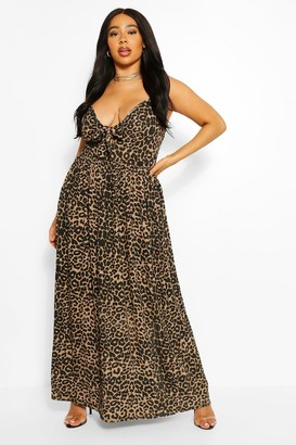 boohoo Plus Leopard Strappy Knot Front Maxi Dress
