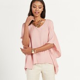 Apricot Grey Wavy Cold Shoulder Oversized Top