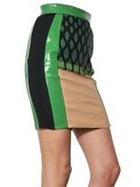 David Koma Patent Leather And Printed Jersey Skirt