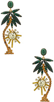 Elizabeth Cole Palm Tree Earrings in Metallic Gold.