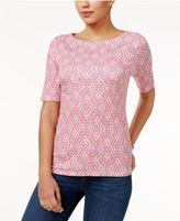 Charter Club Elbow-Sleeve Medallion-Print Top, Only at Macy's