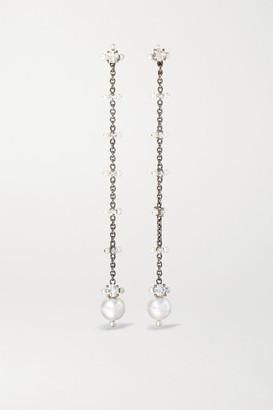 Nadia Morgenthaler - + Net Sustain 18-karat Blackened White Gold, Pearl And Diamond Earrings - one size