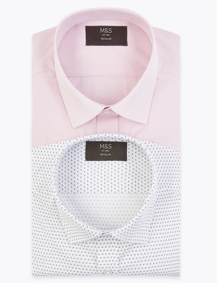 Marks and Spencer 2 Pack Regular Fit Printed Long Sleeve Shirts