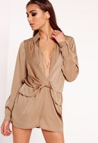Missguided Satin Wrap Romper Nude