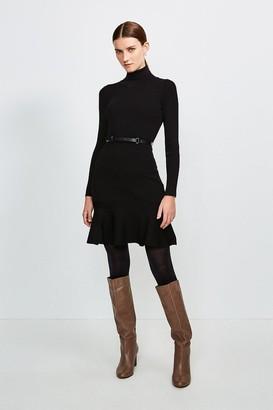 Karen Millen Knitted Roll Neck Belted Flippy Hem Dress