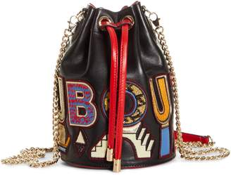 Christian Louboutin Marie Jane Alpha Embroidered Calfskin Leather Bucket Bag