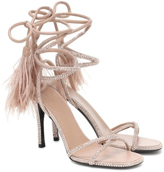 Valentino Upflair 100 feather-trimmed leather sandals