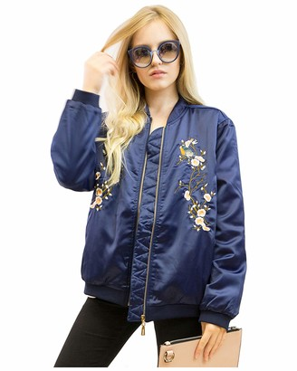 Exceptional Products Lady bird and floral embroidered quilted satin bomber jacket black navy blue color