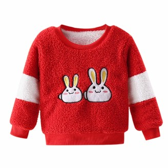 Toddler Kids Long Sleeve White Rabbit Pattern Pullover Tops Warm Clothes O-Neck Outfits Zerototens Baby Thick Sweatshirt