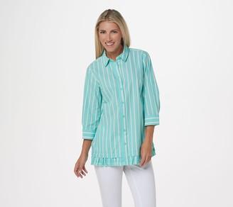 Joan Rivers Classics Collection Joan Rivers 3/4-Sleeve Striped Shirt with Ruffle Hem