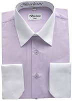 Berlioni - White Two Tone Mens Dress Shirt