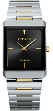 Citizen Unisex Eco-Drive Stiletto Two-Tone Stainless Steel Bracelet Watch 28x38mm
