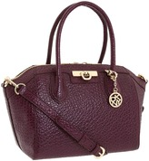 DKNY - French Grain Top Zip Satchel (Purple) - Bags and Luggage