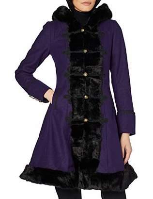 Joe Browns Womens Long Winter Coat with Faux Fur Trim Purple 6