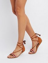 Charlotte Russe Tassel Lace-Up Sandals