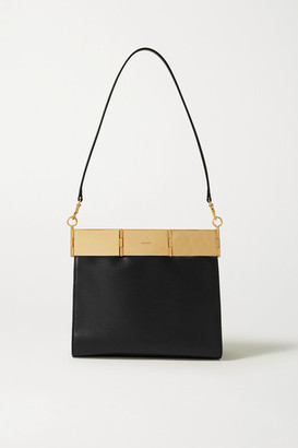 Oroton Cassia Medium Leather Shoulder Bag - Black