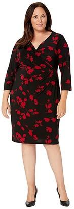 Lauren Ralph Lauren Plus Size Printed Matte Jersey Cleora Long Sleeve Day Dress (Black/Scarlet Red) Women's Clothing