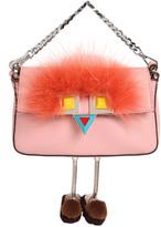Fendi Micro Baguette Faces Leather Bag W/ Fur