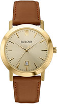 Bulova Unisex Brown Leather Strap Watch 38mm 97B135