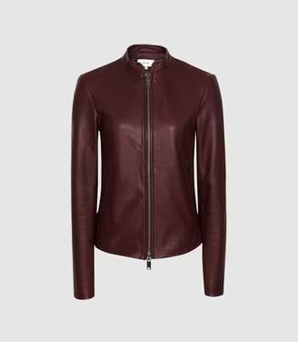 Reiss Allie - Leather Collarless Biker Jacket in Pomegranate