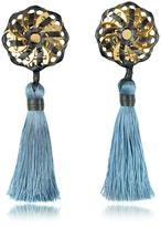DSQUARED2 Samurai Blue Tassel Clip Earrings
