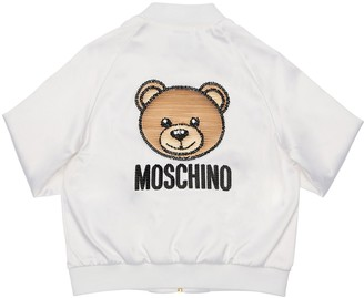 Moschino Satin Bomber Jacket W/ Sequin Patch