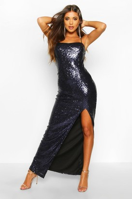 boohoo Sequin Square Neck Side Split Maxi Dress