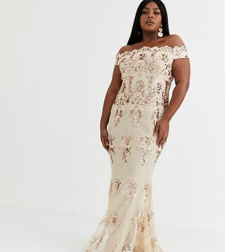 Goddiva Plus maxi dress with baroque embellishment in rose gold
