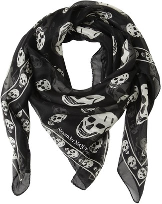 Alexander McQueen Classic Skull Printed Silk Chiffon Scarf